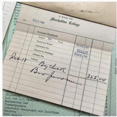 Manhattan College Tuition >> Mfound Manhattan College Tuition Bill From 1930 Jasper